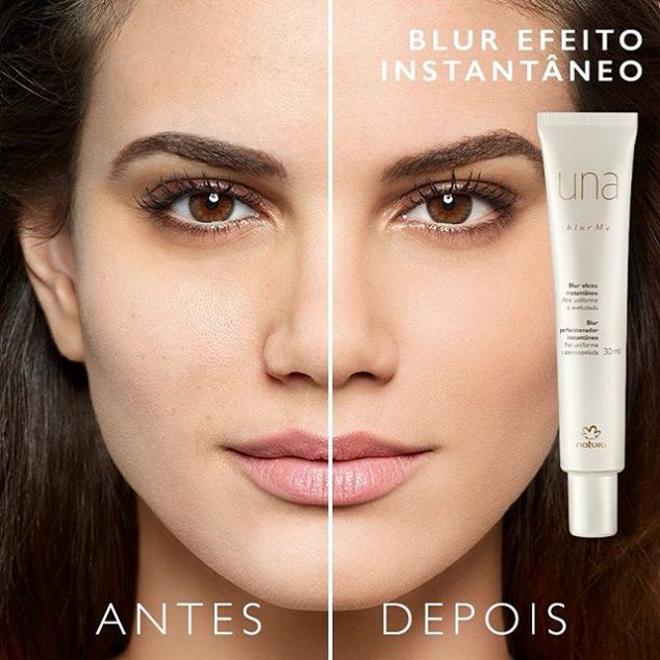Antes e depois de usar o Blur Instantâneo Natura Una