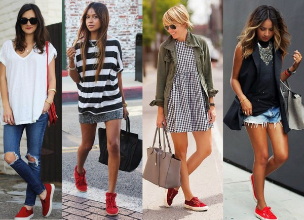 Looks usando como destaque tênis vermelho