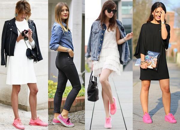 784144e6812 Looks usando como destaque tênis cor de rosa