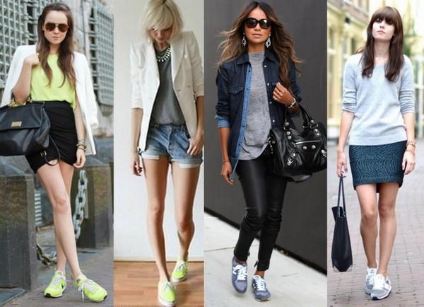 Looks usando como destaque tênis amarelo e cinza