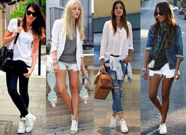 Produções com shorts e calça usando tênis branco