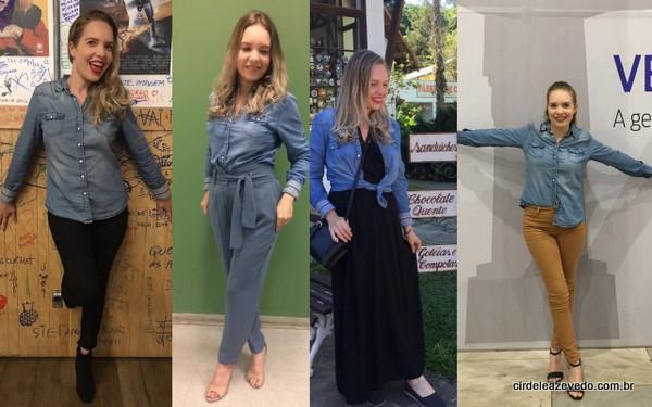CAmias jens compondo quatro looks. O primeiro com calça preta; o segundo com calça social azul claro, o terceiro com vestido longo preto; e o quarto com calça marrom