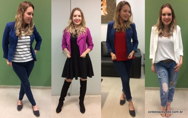 Calça azul marinho com blusa listrada e blazer azul; vestido peto com jaqueta rosa; calça azul marinho com blusa vermelha e blazer azul; e calça jeans com camiseta branca e blazer off white