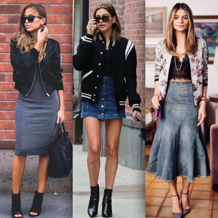 Vestido midi preto com jaqueta jeans