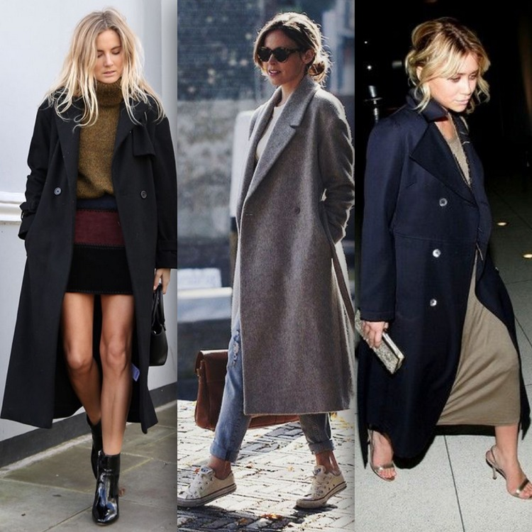 Casaco oversize preto usado com saia, cinza usado com calça e marinho usado com vestido longo verde