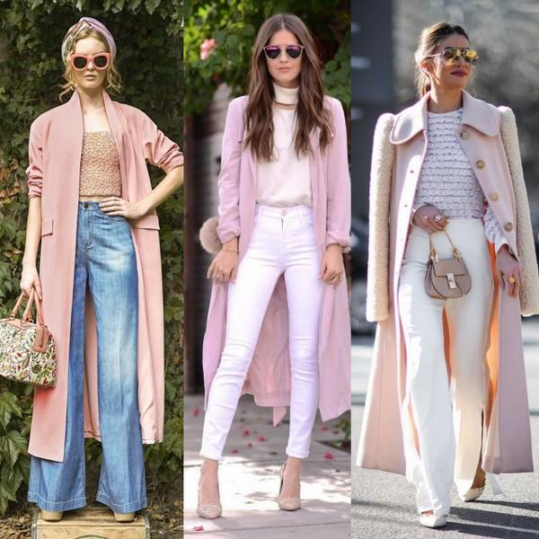 Maxi casacos na cor rosa millennial