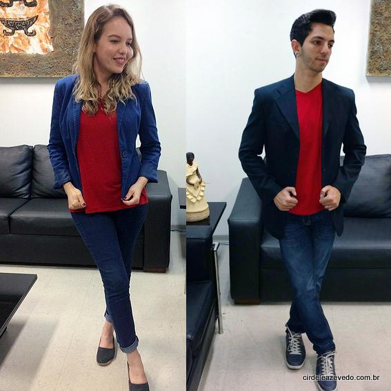 Arthur e eu vestimos calça jeans, blusa vermelha e blazer marinho