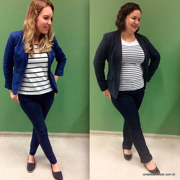 Silvia e eu vestimos: calça azul, blusa listrada p&b e blazer azul