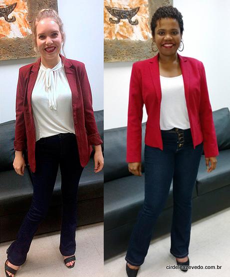 leandra e eu vestimos calça jeans com blusa clara e blazer vermelho